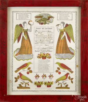 Pennsylvania printed and handcolored fraktur by Theo Scheffer