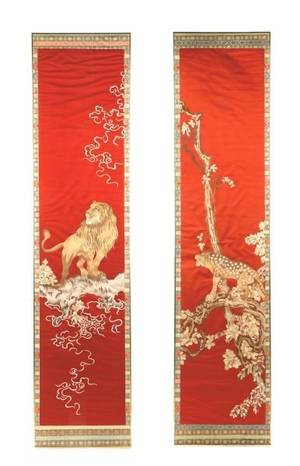 Pair Framed Chinese Red Silk Embroidery Textiles