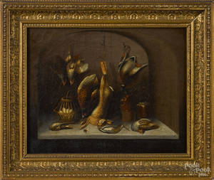 Pair of English oil on canvas still lifes of dead game 19th c
