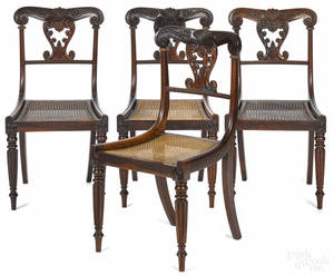 Set of four English Regency rosewood dining chairs ca 1830