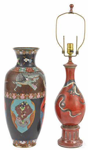 Two Chinese cloisonn dragon vases ca 1900