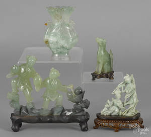 Four Chinese jade and hardstone carvings