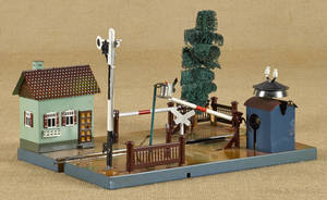 Marklin tin windup train crossing gate with a guard house