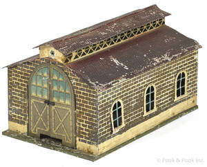 Bing painted tin train Engine shed