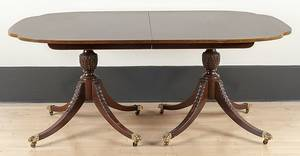 Baker Federal style mahogany doublepedestal dining table with one 16 14 l leaf