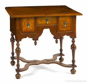 William  Mary style walnut and burl veneer dressing table