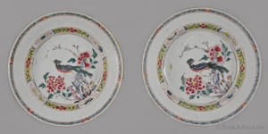Pair of Chinese export porcelain famille rose plates late 18th c