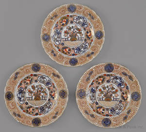 Three Chinese export porcelain Imari palette plates ca 1800