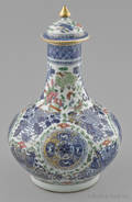 Chinese export porcelain blue Fitzhugh clobbered water bottle and cover early 19th c