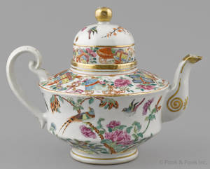 Chinese export porcelain rose Canton teapot 19th c
