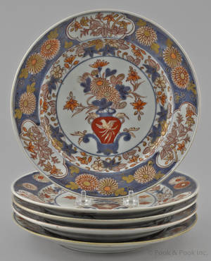 Five Chinese export porcelain Imari palette plates 19th c