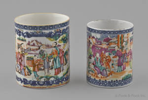 Two Chinese export porcelain Mandarin palette mugs 19th c