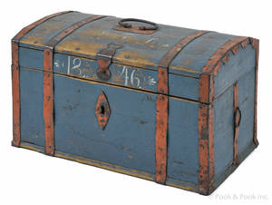 Scandinavian painted dome lid lock box dated