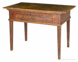 Scandinavian painted pine work table mid 19th c