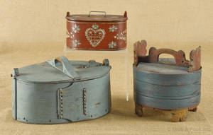 Four Scandinavian carved and painted bentwood boxes 19thearly 20th c