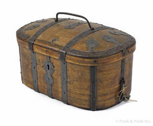 Continental dome lid pine lock box early 19th c