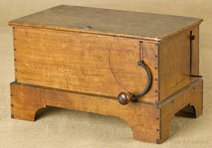 Continental fruitwood music box mid 19th c
