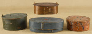 Four Scandinavian painted bentwood boxes 19th c