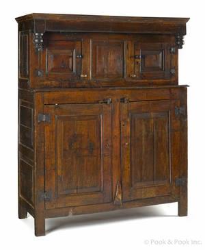 English Jacobean oak court cupboard late 17th c