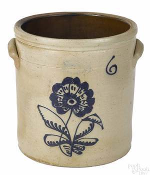 New York sixgallon stoneware crock 19th c