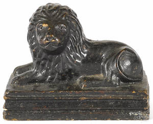 Sewer tile figure of a recumbent lion 19th c