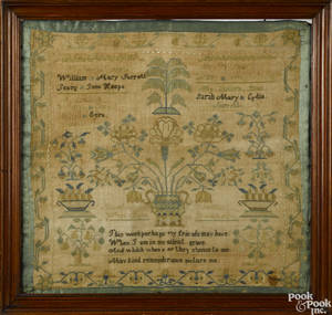 Chester County Pennsylvania silk on linen needlework sampler wrought by