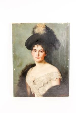 Portrait of a Woman in Feathered Hat Signed