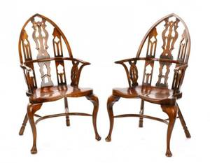Pair of Gothic Style Windsor Armchairs