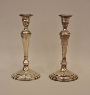 Mid 20th C American Sterling Silver Candlesticks
