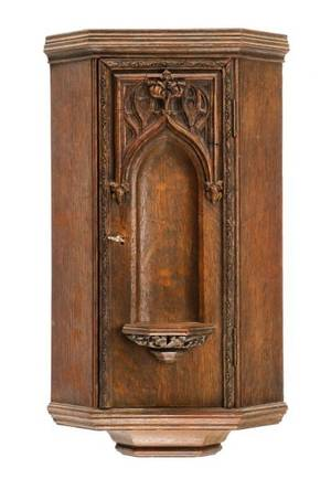 Carved Oak Gothic Revival Style Wall Cabinet