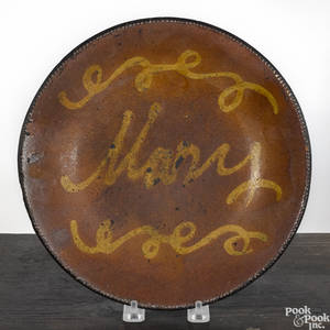 New England redware pie plate 19th c