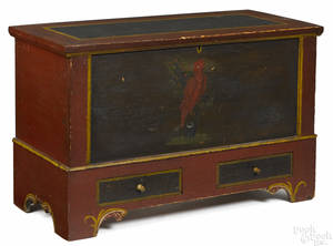 Pennsylvania or New York painted pine dower chest early 19th c