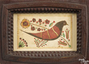 Southeastern Pennsylvania watercolor fraktur of a bird early 19th c