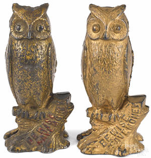 Two cast iron  Be Wise Save Money  owl still banks