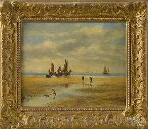 Continental oil on canvas coastal scene 19th c