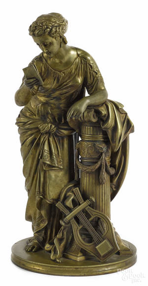 French bronze figure of a woman late 19th c