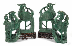 Two pairs of Chinese carved jade phoenix