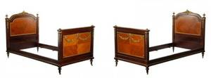 Pair of Louis XVI Style Gilt Metal Mounted Beds