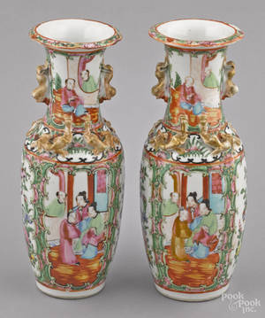 Pair of Chinese export porcelain rose medallion vases 19th c