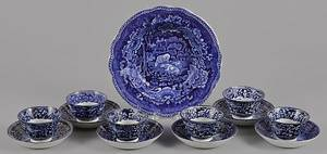 Six blue Staffordshire English scenery cups and saucers