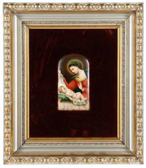 After Dolci Framed Hand Painted Porcelain Plaque