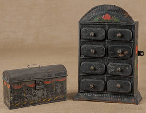 Painted tin spice chest