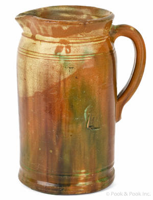 Virginia redware pitcher 19th c