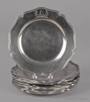 Twelve English pewter plates late 18th c