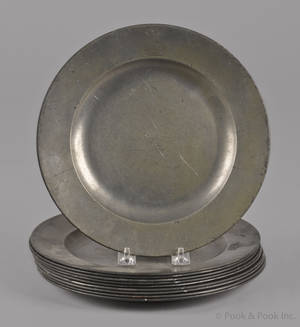 Ten English pewter plates late 18th c
