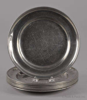 Set of eight Continental pewter shallow bowls 19th c
