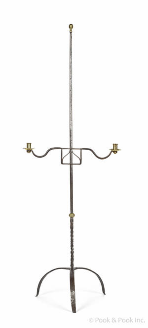 Wrought iron and brass floor standing candlestand late 18th c