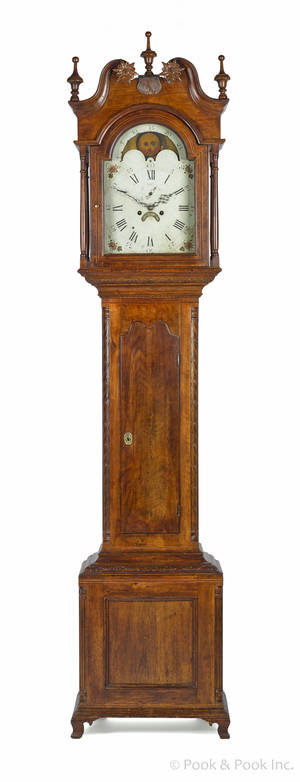 Reading Pennsylvania Chippendale walnut tall case clock ca 1790