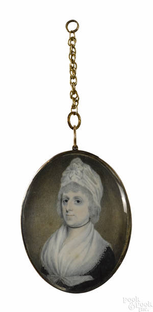 Miniature watercolor on ivory portrait of a lady early 19th c