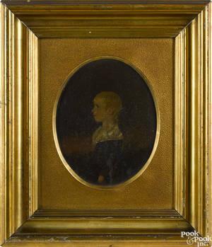 Pennsylvania oil on poplar panel portrait of a boy mid 19th c